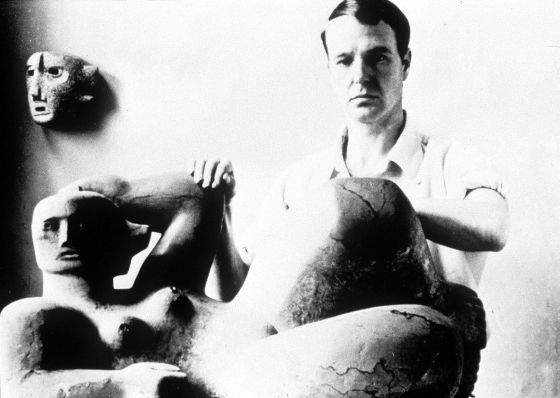 The English sculptor Henry Moore, a youthful image.