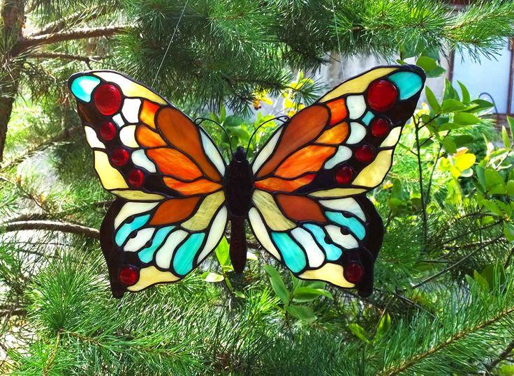 zawieszka motyl - tech.Tiffany #glassatelier , #polandhandmade , #tiffany , #witraż  , #stainedglass
