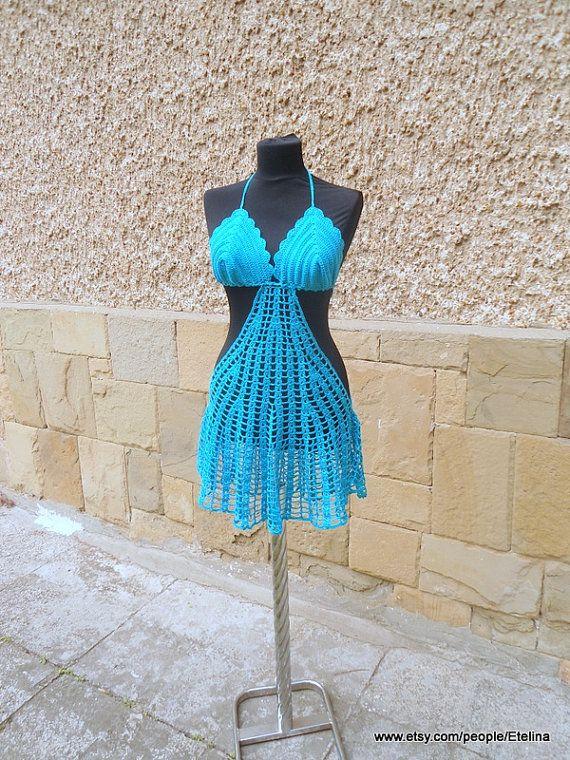 Vestidos De Baño Verano Azul:VENTA de verano Aqua azul Cover Up vestido de playa por Etelina