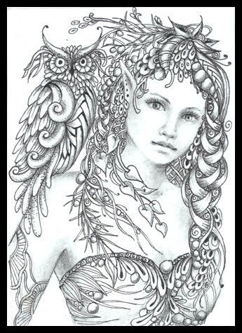 Fairy Tangles: Minerva by Norma J Burnell Fairy Myth Mythical Mystical Legend Elf Fairy Fae Wings Fantasy Elves Faries Sprite Nymph Pixie Faeries Hadas Enchantment Forest Whimsical Whimsey Mischievous Coloring pages colouring adult detailed advanced printable Kleuren voor volwassenen coloriage pour adulte anti-stress kleurplaat voor volwassenen Line Art Black and White