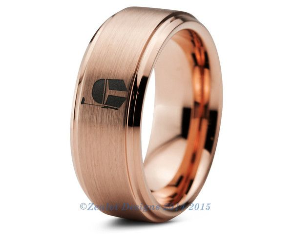 Wedding Ring Bands >> Star Wars Boba Fett Tungsten Wedding Band Ring Mens Womens Brushed Beveled Rose Gold Fanatic ...