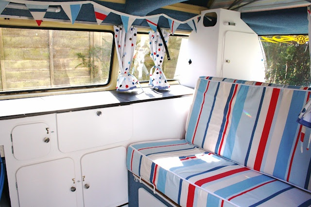 VW Campervan interior - stripes and bunting
