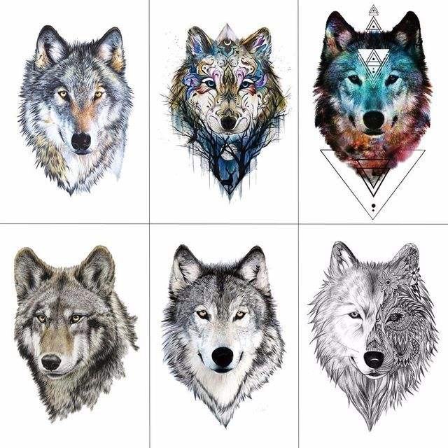 HXMAN Wolf Temporäre Tattoo Aufkleber Wasserdichte Frauen Gefälschte Hand Tier Tattoos Erwachsene Männer Körper Kunst 9,8X6 cm A-085