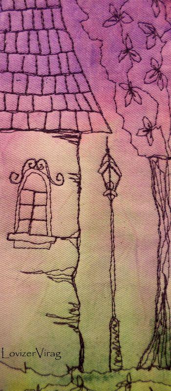Drawing thread house and candelabre by ZerVir www.facebook.com/ZerVir