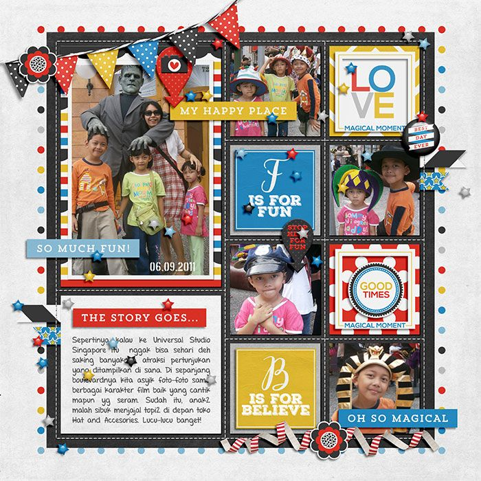 Happines is : A Magical Vacation by Megan Mullens and Tickled Pink Studio. Stitched Grids vol 4 by Scotty Girl.