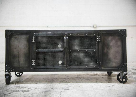 Industrial rolling media cabinet TV stand on von JRealFurniture