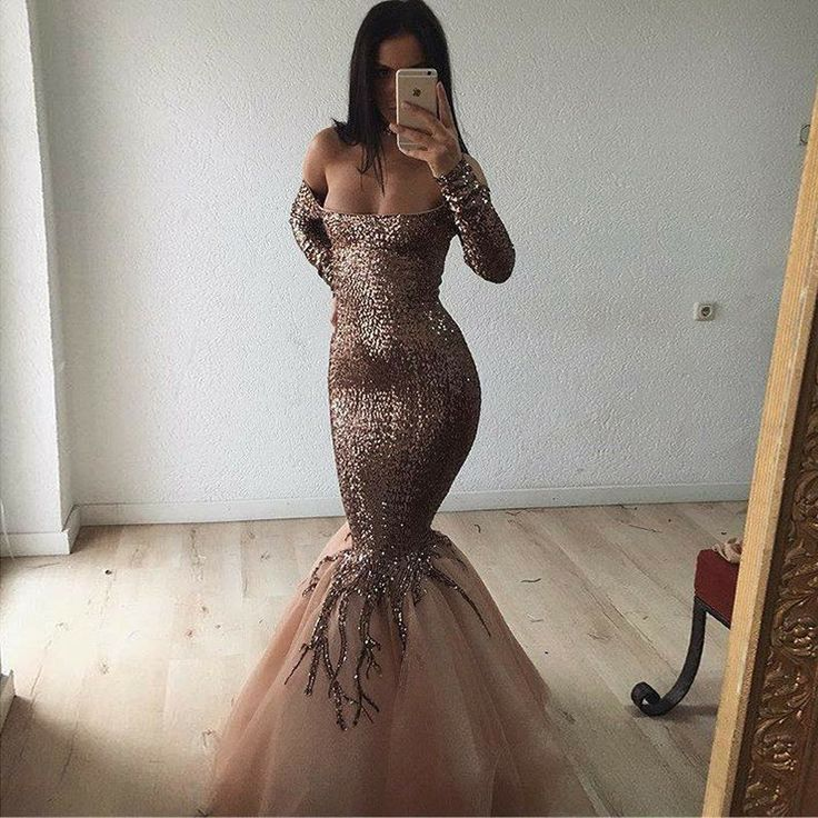 Find unique, vintage and handmade Best Mermaid Off the Shoulder Long Sleeves Gold Tulle Prom Dress with Sequins Special Occasion Dresses in sevengrils Mermaid Off the Shoulder Long Sleeves Gold Tulle Prom Dress with Sequins