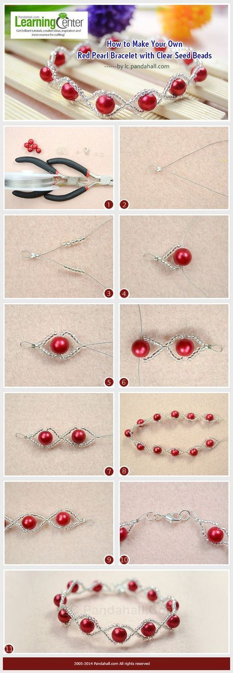 How to Make Your Own Red Pearl Bracelet with Clear Seed Beads | See more about Pearl Bracelets, Seed Beads and Bracelets.
