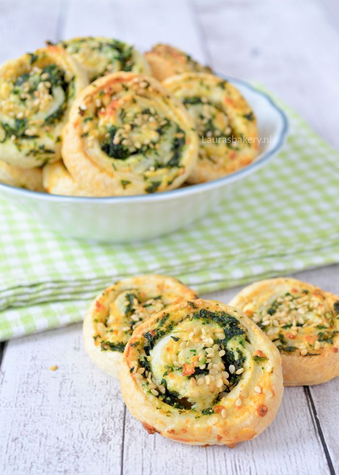 spinach feta puff pastry pinwheels - spinazie-feta spiralen - Laura's Bakery