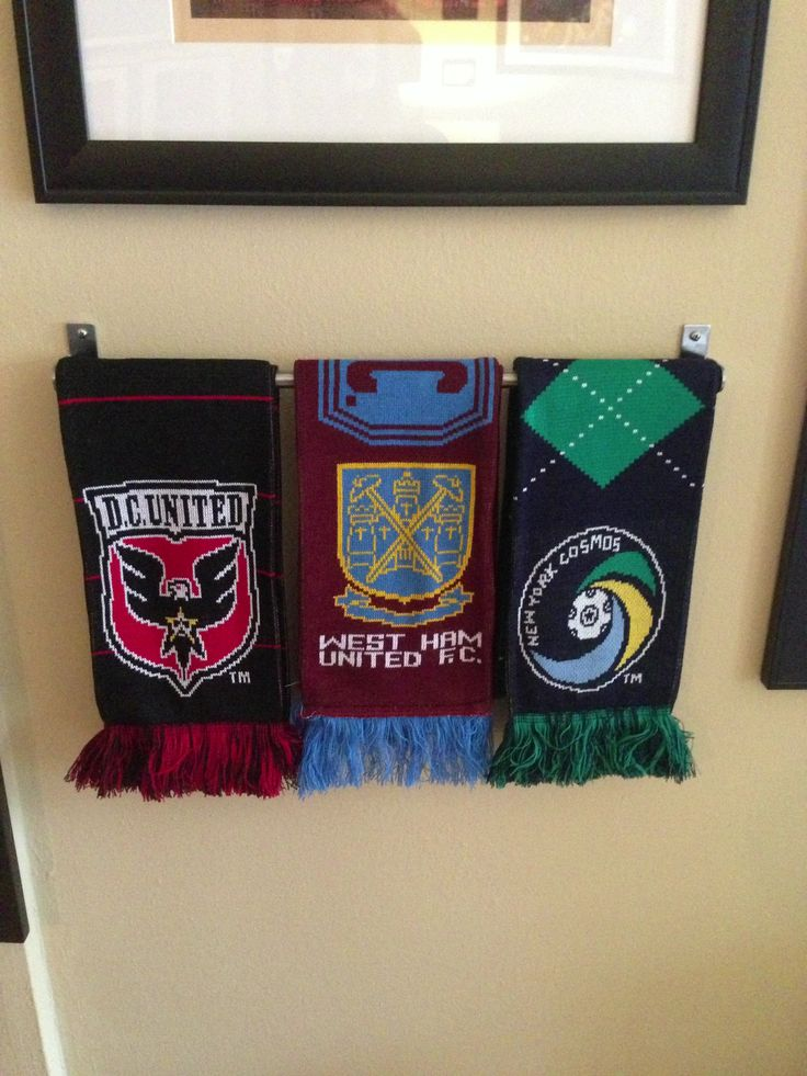 How to display your Soccer Scarves properly!!! Went to Ikea and got a towel bar…