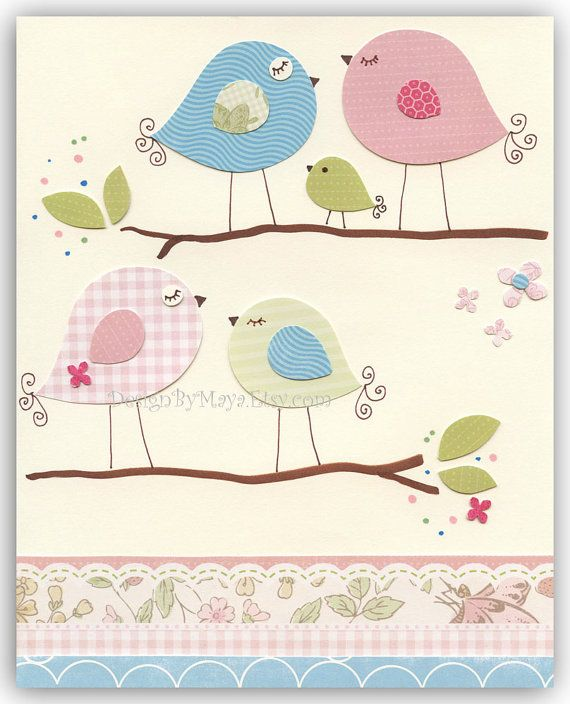 Baby Room Wall Art Print Art Love birds Baby by DesignByMaya
