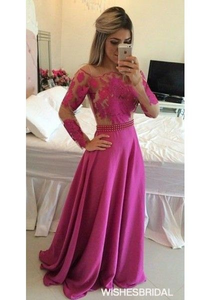 Fuchsia Long Sleeve Off The Shoulder Sweep Train Chiffon A Line Prom Evening Dress Cwb0733