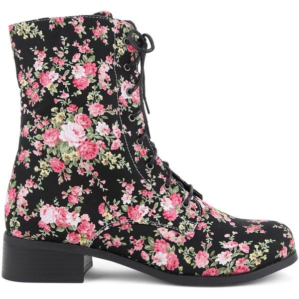 Mid Height Floral Combat Boot with Lace Up Front (36 CAD) ❤ liked on Polyvore featuring shoes, boots, ankle booties, laced boots, floral combat boots, combat booties, lace up booties and laced up combat boots