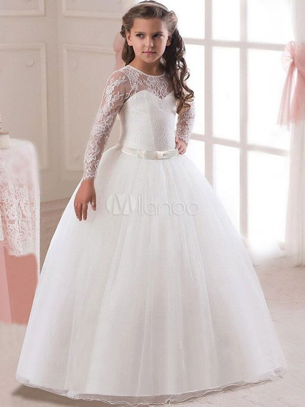 White Flower Girl Dresses Princess Pageant Dress Long Sleeve Lace Ball  Gowns Kids Bow Sash Floor Length Long Party Dress 1520bc556172