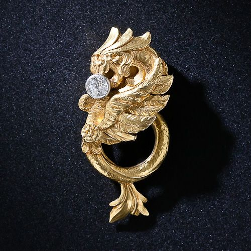 French Art Nouveau 18k and Diamond Griffin Scarf Clip. Now that those groovy silk neckerchiefs (scarves) from the seventies are finally back in fashion, secure yours with this fabulous 18 karat g...