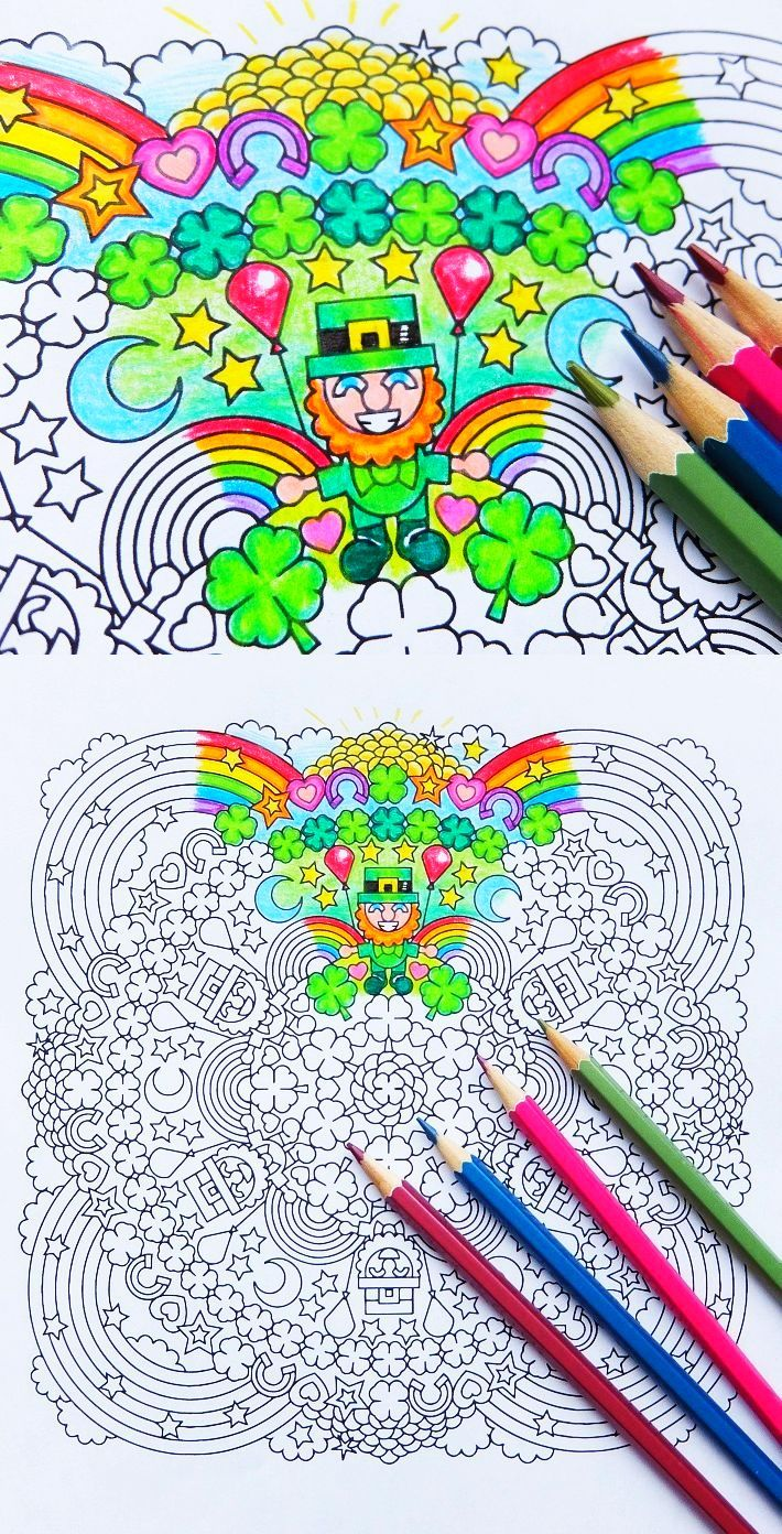 Lucky Charms Party - St. Patrick\'s Day mandala coloring page - adult ...