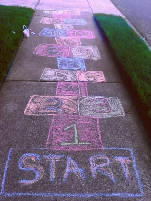 hopscotch, back when kids actually played outside instead of glued to electronics LOL
