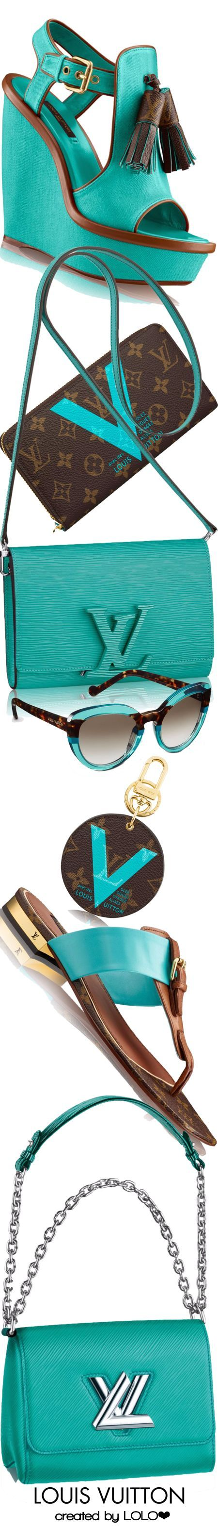 Louis Vuitton ~ Turquoise + Brown Leather Wedge, Sandals, Shoulder Bag, Wallet