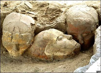 "Decorated human skulls dated to 9,500 years ago found at the Neolithic site of Tell Aswad, near Damascus. On the skulls, lifelike faces were modelled with clay earth, then coloured to accentuate the features. The result claim the archaeologists ""being surprisingly realistic""."