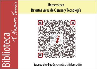 Hemeroteca: Código QR de acceso a la colección de revistas vivas de Ciencia y Tecnología, de la Biblioteca Tomás Navarro Tomás.