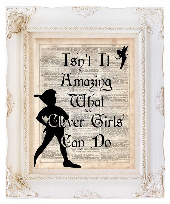 Peter Pan Clever Girls, Dictionary Art Print, Upcycled Book Art, Silhouette, dictionary page Wall Decor, Wall Hanging, Mixed Media Art