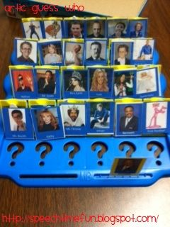 Speech Time Fun: Articulation Guess Who! Could be used for patients with aphasia too.