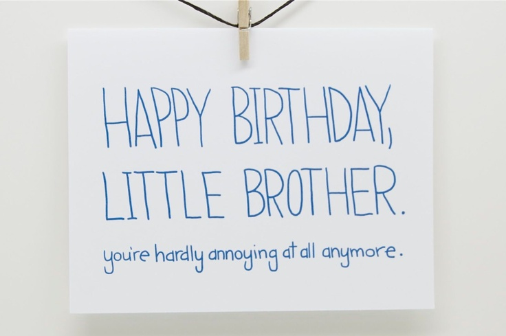 Funny Happy Birthday - Little Brother.  You're Hardly Annoying At All Anymore.. $3.75, via Etsy.