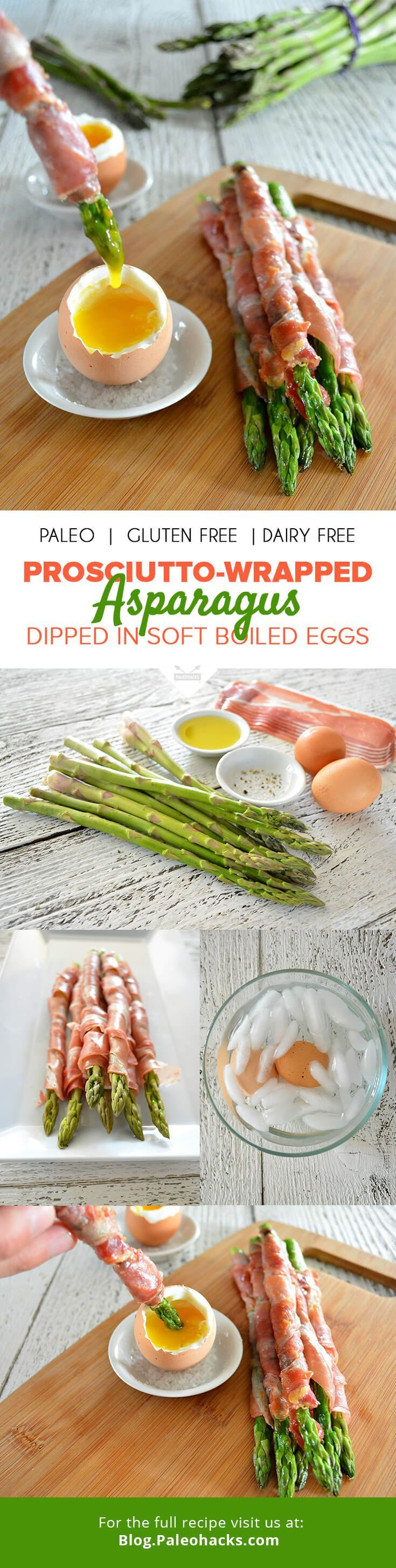 Prosciutto-Wrapped Asparagus Dipped in Soft Boiled Eggs  #justeatrealfood #paleohacks