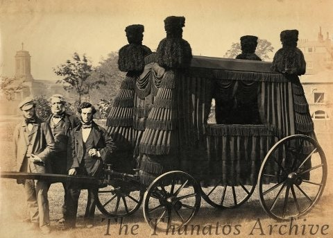 antique photo - hearse. mourning.