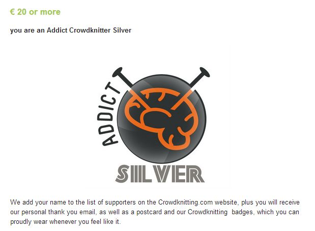 Addict Crowdknitting SILVER, crowdfunding campaign on Indiegogo http://www.indiegogo.com/projects/crowdknitting-community