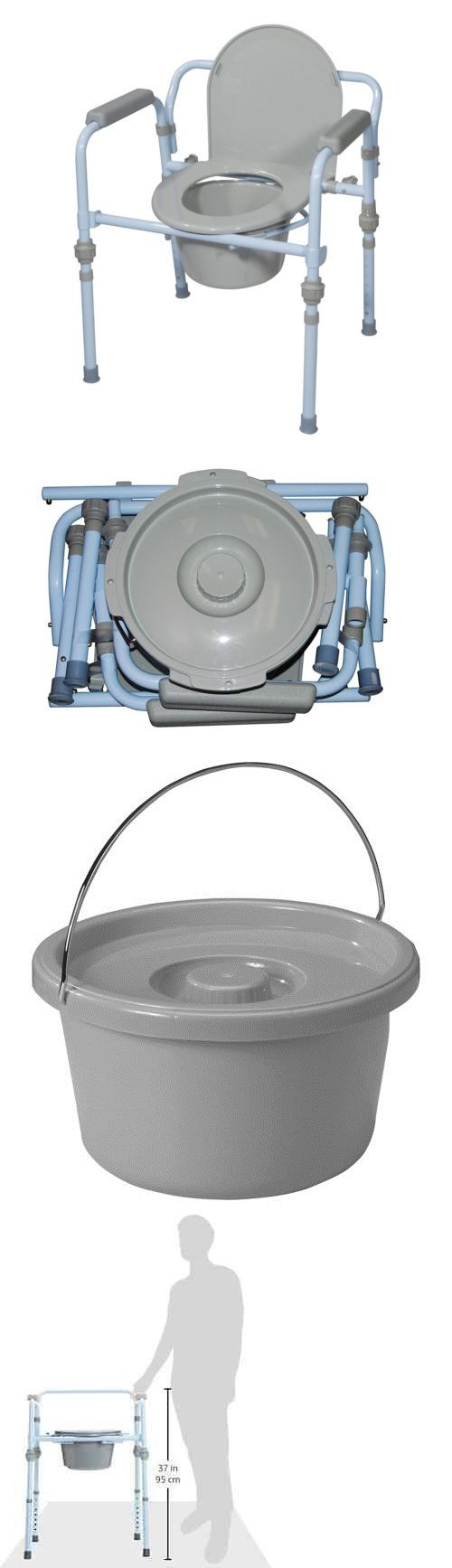 Portable commode folding bedside handicap adult toilet potty chair - Toilet Frames And Commodes Folding Commode Bedside Handicapped Toilet Seat Bucket Portable Safety Chair New Buy It Now Only 49 26 On Ebay