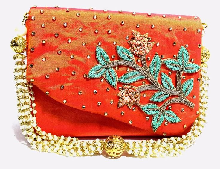 Indian Ethnic Handcrafted Wedding Christmas New Year Party Evening Orange Clutch #Handmade #Clutch