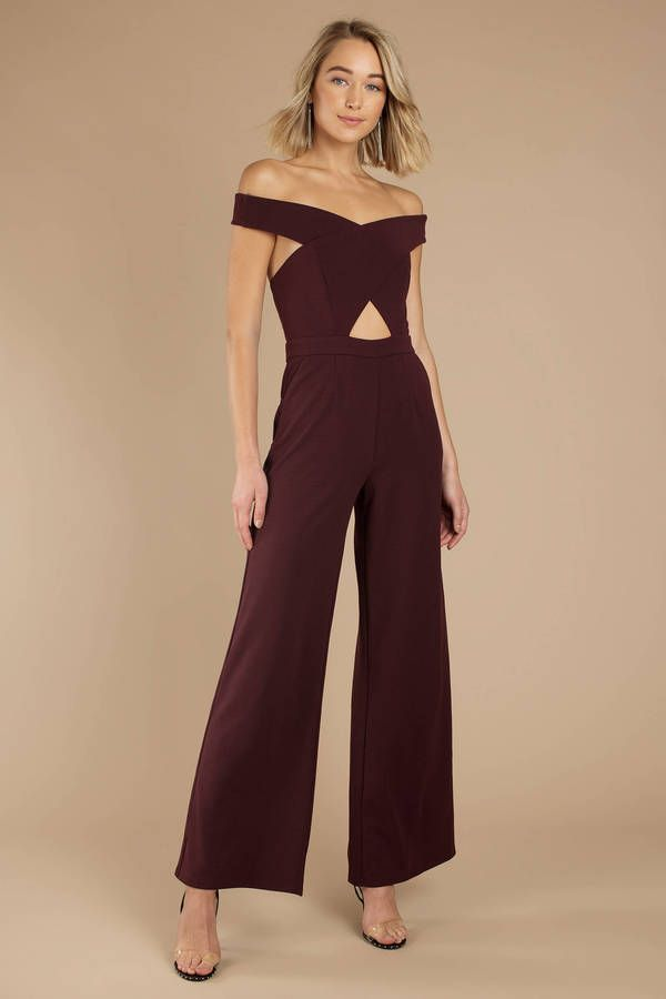 526d32dc479 Break some hearts at your next formal event in the No Tears Left To Cry  Wine Off Shoulder Jumpsuit. This formal jumpsuit features an off the  shoulder - Fast ...