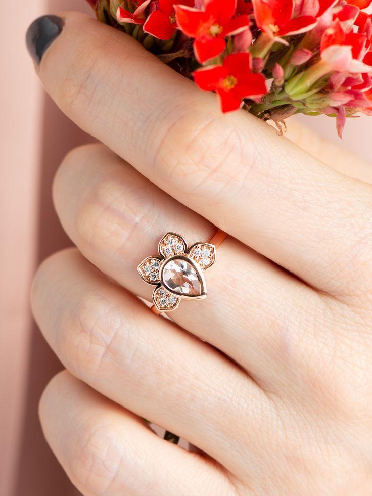 14k rose gold white diamonds lotus flower ring