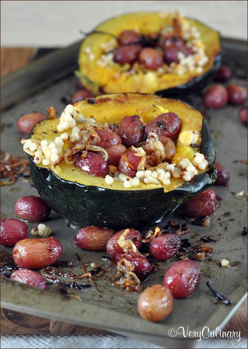 Roasted Acorn Squash with Onion, Grapes, and Thyme