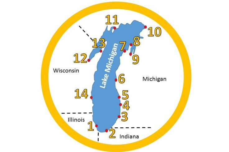 The Lake Michigan Circle Tour is a scenic route that follows highways and roads around Lake Michigan and passes through Illinois, Indiana, Michigan...