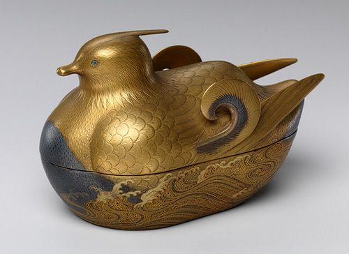 Incense box (kobako) in the shape of a Mandarin Duck, Meiji period (1868–1912)  Japan  Maki-e decorated lacquer