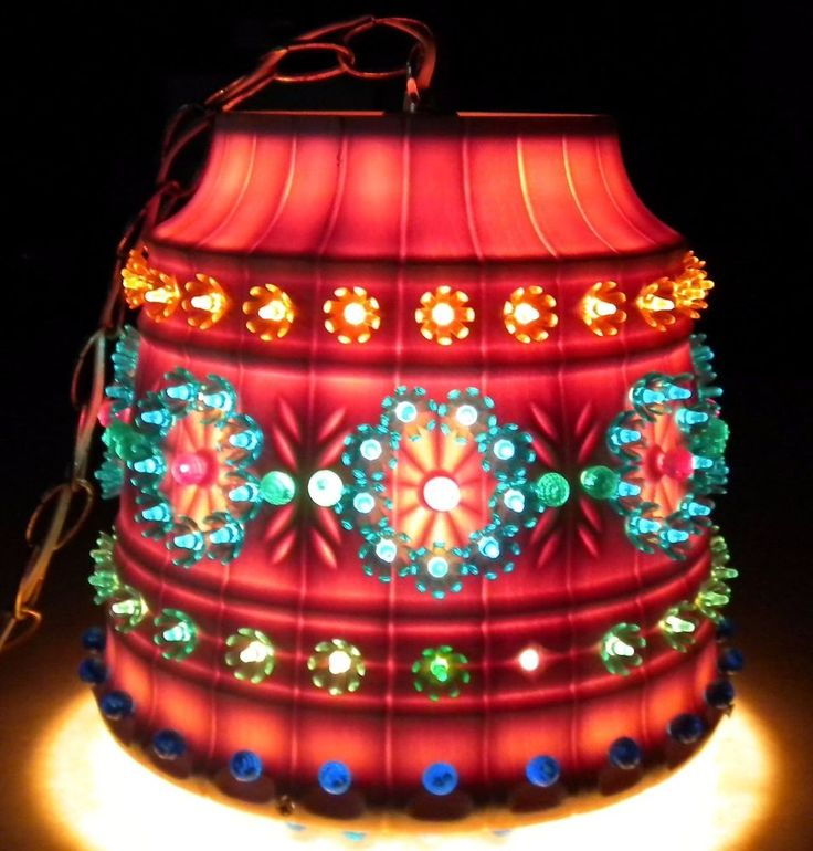 Vintage RV Swag Light Lamp LAWNWARE Hanging Color Bead Patio TIKI RV Mid  Century