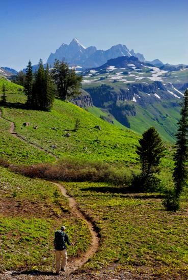 Hiking toward the Grand on the Teton Crest Trail. Photo by Peter Potterfield