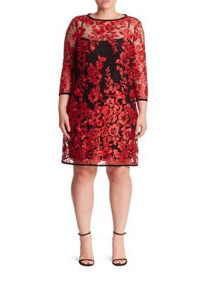 ABS, Plus Size - Embroidered Lace Shift Dress