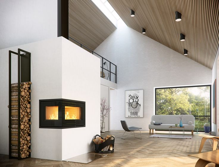 Interior. Cool Wood Burning Fireplace Insert On Corner White Wall Mixed With Slopping Ceiling