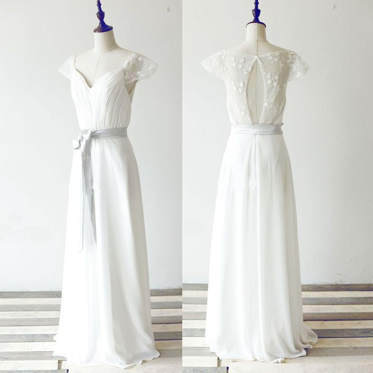 Simple Long A Line White Chiffon Wedding Party Dresses