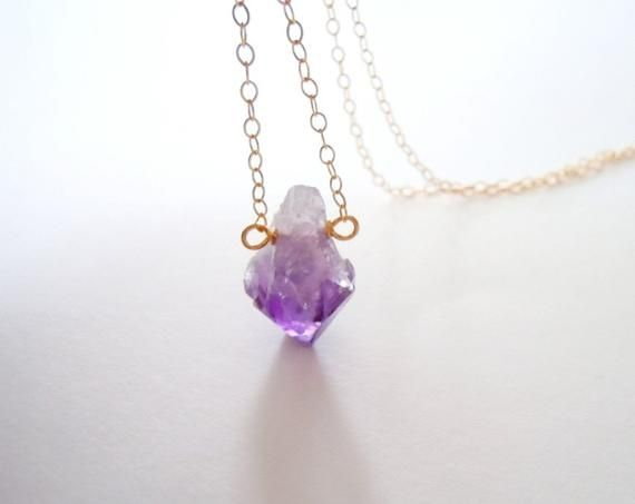 Raw Crystal Necklace Purple Healing Purple Mom Gift Gold or Rose Gold February Birthstone Jewelry Raw Amethyst Necklace in Silver