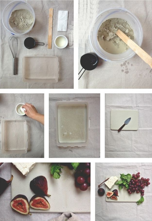 How To Make A DIY Concrete Cheese Board | Quick Tips For Making Your Own DIY Cheese Plate. Easy Ways To Spruce Up Your Kitchen By DIY Ready. http://diyready.com/concrete-crafts-8-creative-concrete-ideas/