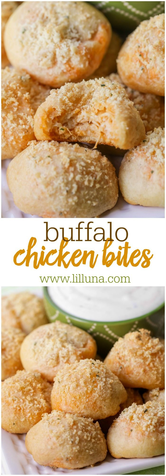 Delicious bite-sized Buffalo Chicken Wing Bites - soft flaky dough stuffed with buffalo chicken and topped with butter and cheese and served with a tasty Bleu Cheese Ranch Dressing.