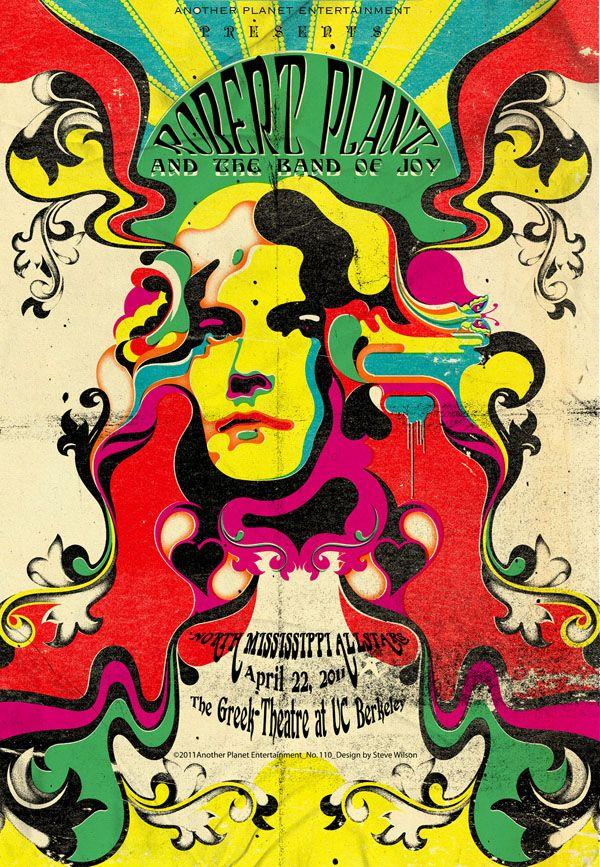 Illustration Of Robert Plant By Steve Wilson Psychedelic Design Music Poster Led Zeppelin