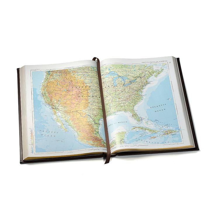 OdV 079 Smythson Large Hardbound Leather Library-Style World Atlas