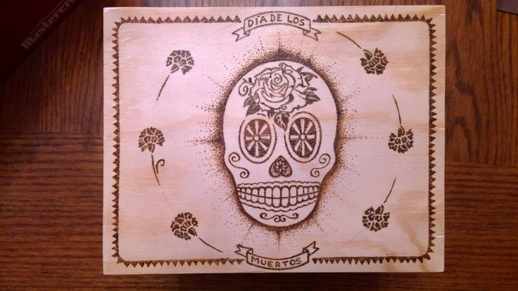 Day of the Dead Pyrography box in process.  by E. Klassen