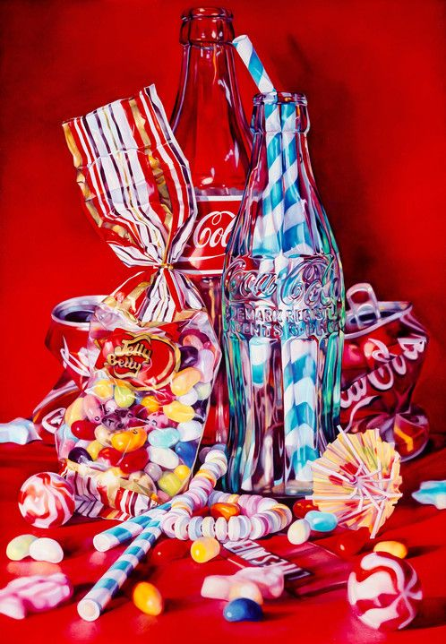 Coke, Jelly Beans & Lifesavers      £600.00        By Kate Brinkworth         Image 55.5cm x 80cm on 65.5cm x 92cm paper,unframed  24 colour Silkscreen print,hand produced by Harwood King   Gloss finish printed on 400gsm Somerset paper  Edition of 50