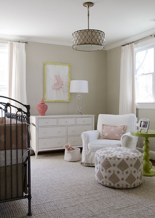 Color scheme... without the pink :) nurseries - tan walls white drapes